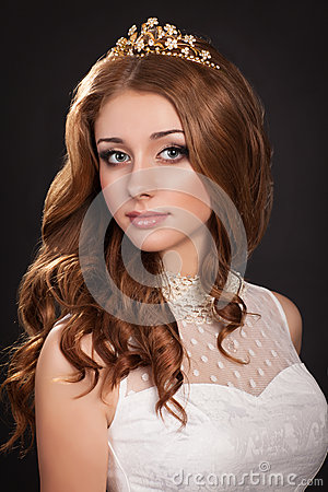 fashion woman with brown hairs perfect skin and makeup in jewelry beauty model stock image