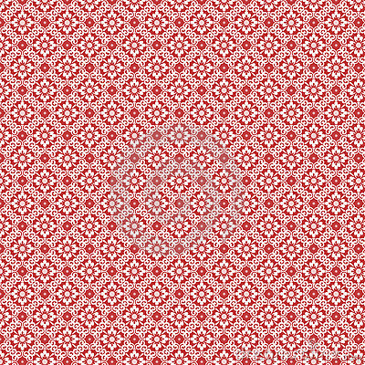 Red And White Vintage Damask Repeat Pattern Royalty Free