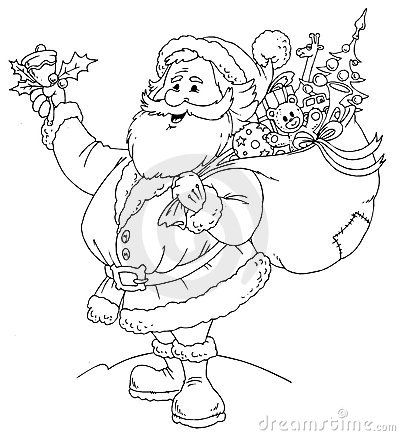 claus black amp white cartoon illustration for christmas coloring page