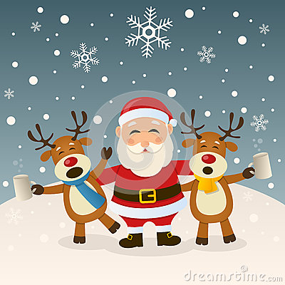 Santa Claus And Drunk Reindeer Stock Vector Image 61821831