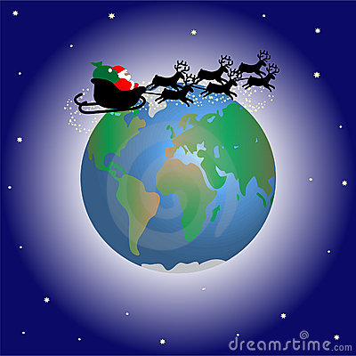 Santa Claus Over The World Stock Images Image 3476434