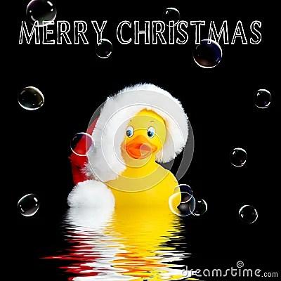 Santa Rubber Duck Christmas Background Stock Illustration