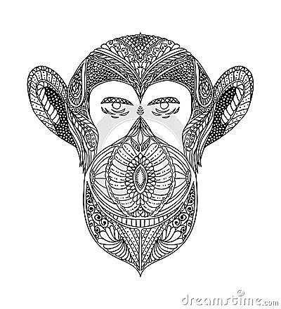 Schwarzweiss Verzierung Stellt Wildes Tier Der Waldaffen