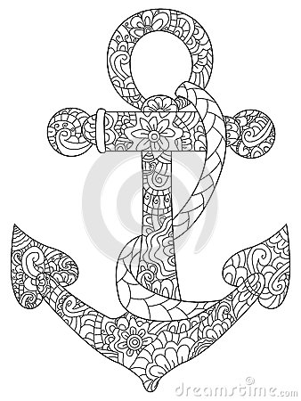 Sea Anchor Coloring Vector For Adults Stock Vector Image