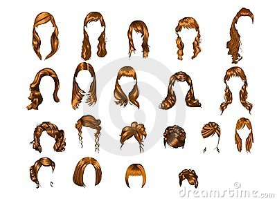 Set Of Illustrated Hairstyles Royalty Free Stock Photos