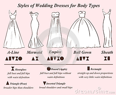 Set Of Wedding Dress Styles Stock Vector Image 56201573
