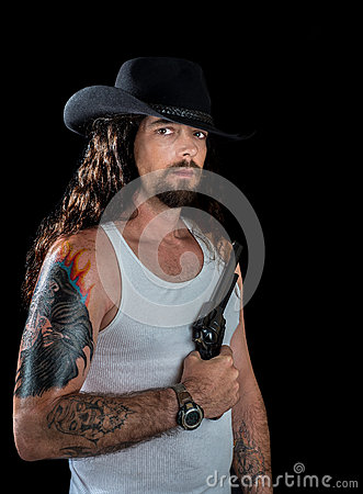 Sexy Man With A Revolver Royalty Free Stock Image Image