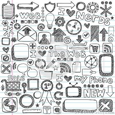 Sketchy Doodle Web Icon Computer Design Elements Stock