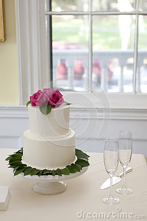 Small Two Tiered Wedding Cake Stock Photo Image 27557710