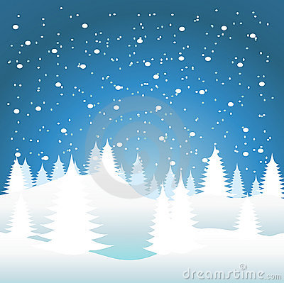 Snow Falling On The Trees Royalty Free Stock Images