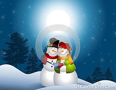 Snowmen Hugging In Snow Royalty Free Stock Photos Image