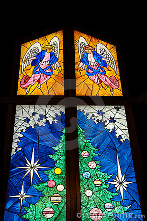 Stained Glass Christmas Tree Royalty Free Stock Photos