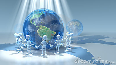 Stick Figures Holding Hands Around Earth Royalty Free