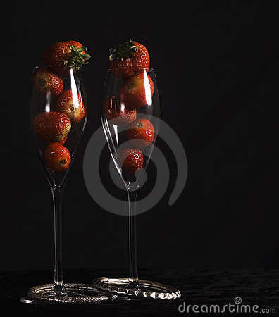 Strawberries in wine glasses