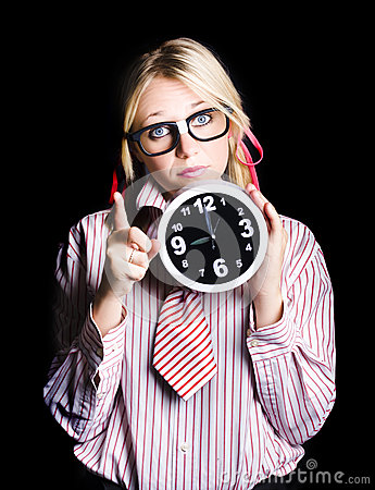 Time management business person signalling time up