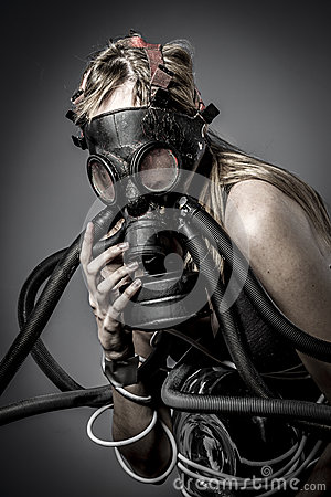 Toxic Gas Mask Female Model Evil Blind Fallen Angel Of Deat Royalty Free Stock Photography