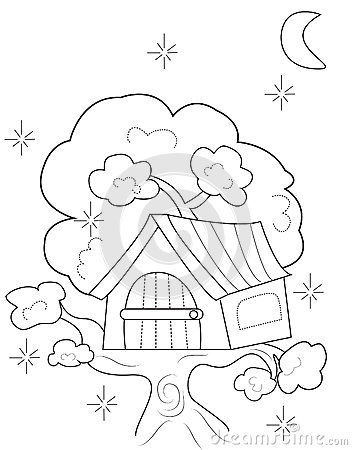tree house coloring page useful as coloring book for kids