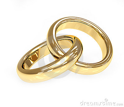 Two 3d Gold Wedding Ring Stock Image Image 8489381