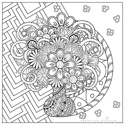 Vase With Doodle Flowers And Mandala Stock Vector Image