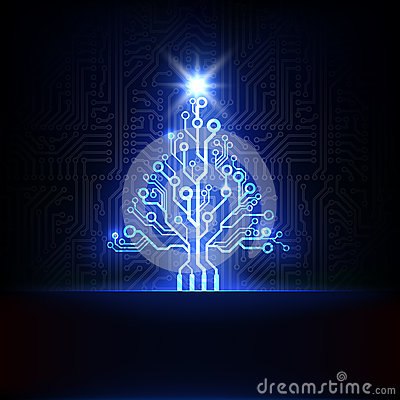 Vector Electronic Christmas Tree Royalty Free Stock Images Image 28139549