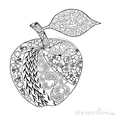 Vector Monochrome Apple Zentangle Style For Coloring Book