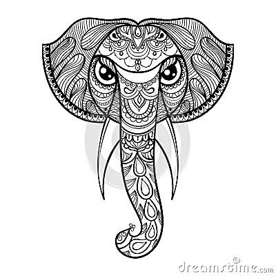 Vector Ornamental Head Of Elephant Ethnic Zentangled