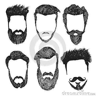 Vector Set Of Hipster Style Haircut Beard Mustache Stock