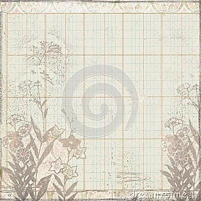 Vintage Botanical Floral Frame On Ledger Paper Royalty