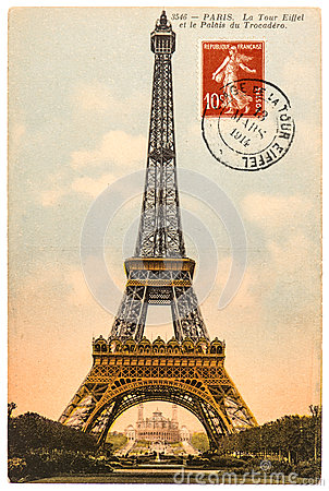 Vintage Postcard With Eiffel Tower In Paris Royalty Free