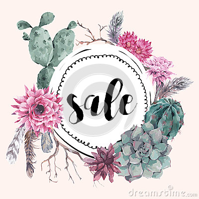Vintage Sale Card With Branches And Succulent Stock Vector