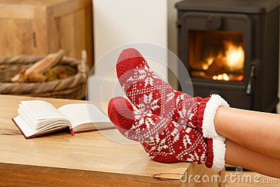 Woman Relaxing In Front Of Fire Stock Photo Image 60293393