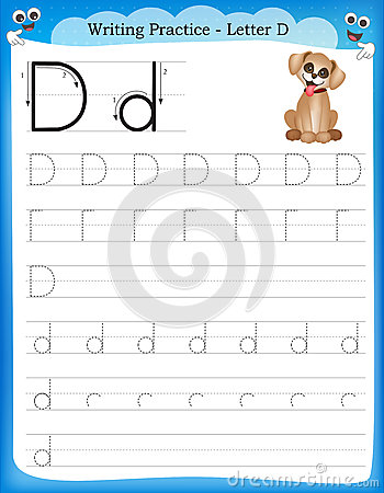 Writing Practice Letter D Stock Vector