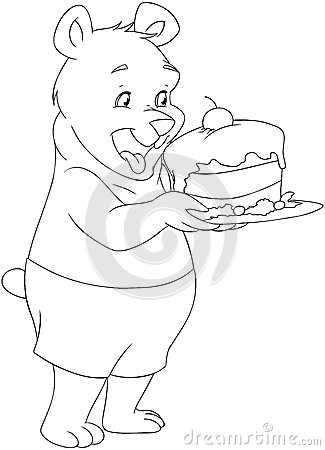 young bear holding a cake coloring page stock photo image 37204030