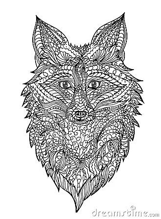 Zentangle Fox Head Stock Vector Image 71179036