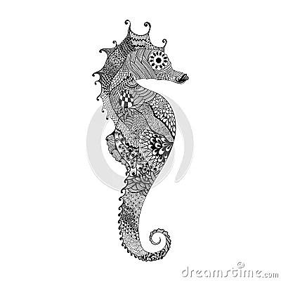 Zentangle Stylized Black Sea Horse Hand Drawn Stock