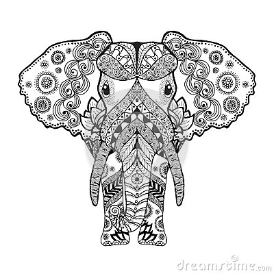 adult antistress coloring page black white hand drawn doodle animal
