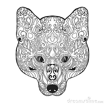Zentangle Stylized Fox Head Sketch For Tattoo Or T Shirt