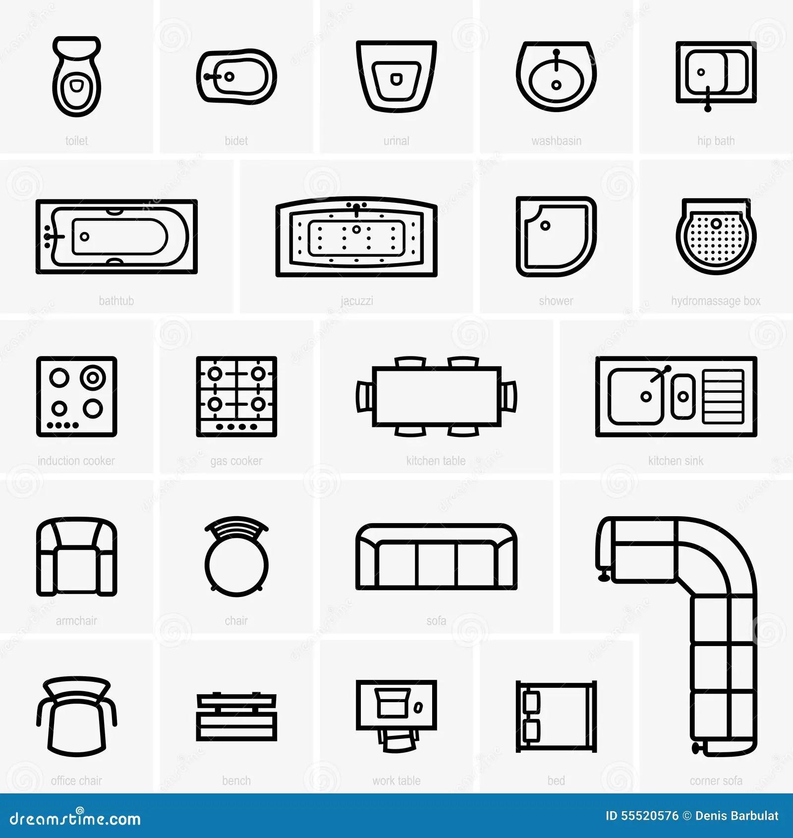 Icones Da Mobilia Da Vista Superior Ilustracao Do Vetor