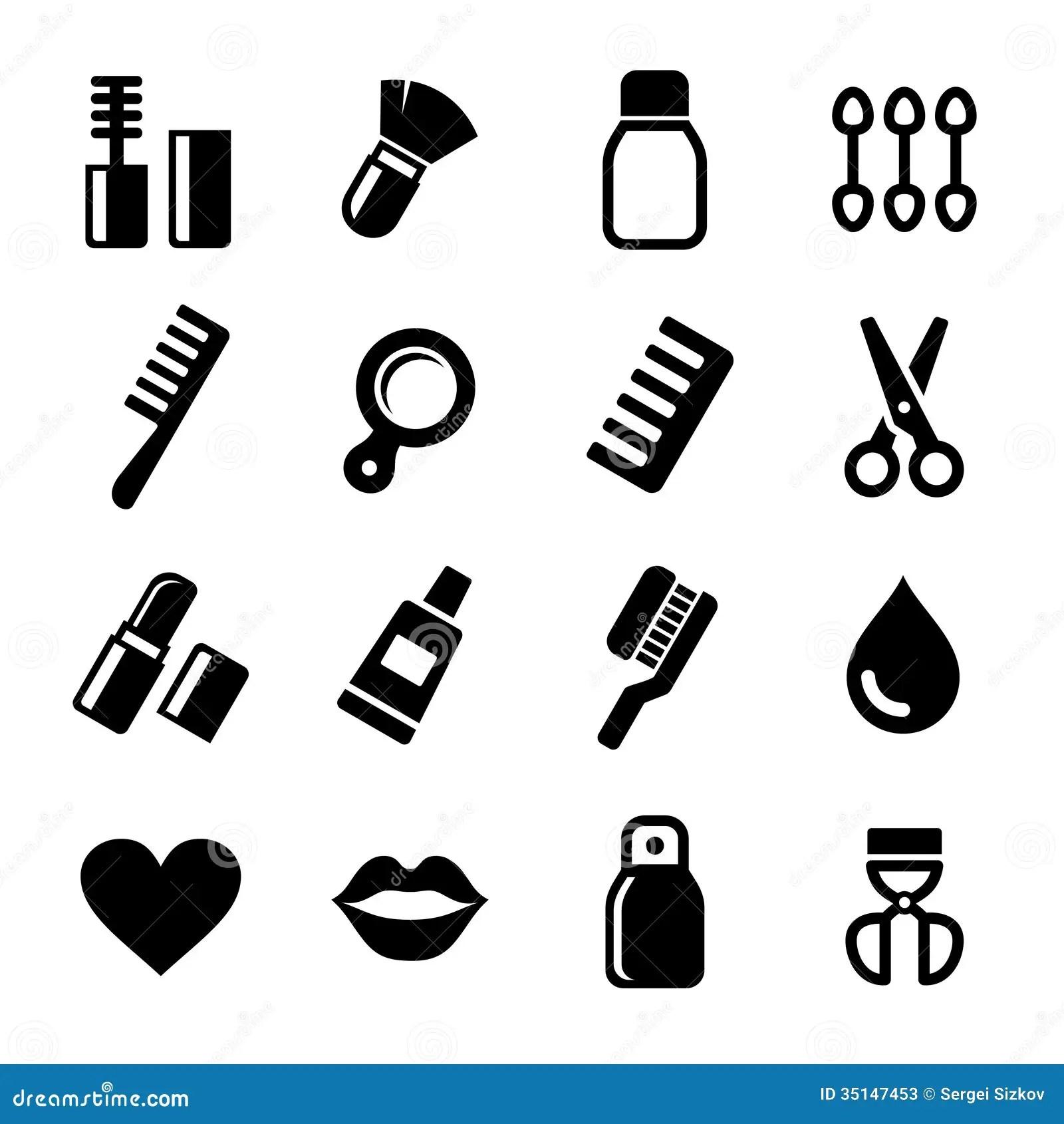 Icones Do Perfume Dos Cosmeticos Ajustados Ilustracao