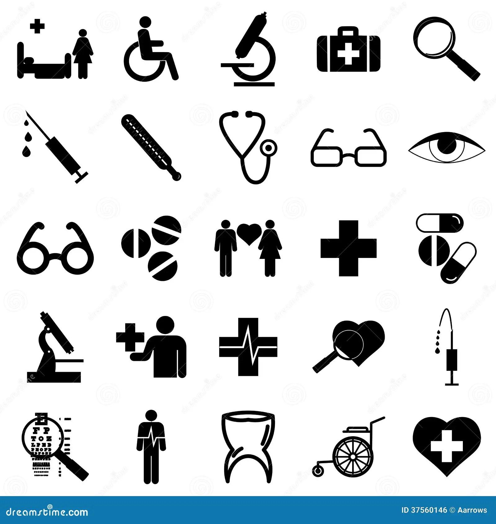 Icones Lisos Da Colecao Simbolos Da Medicina Vetor