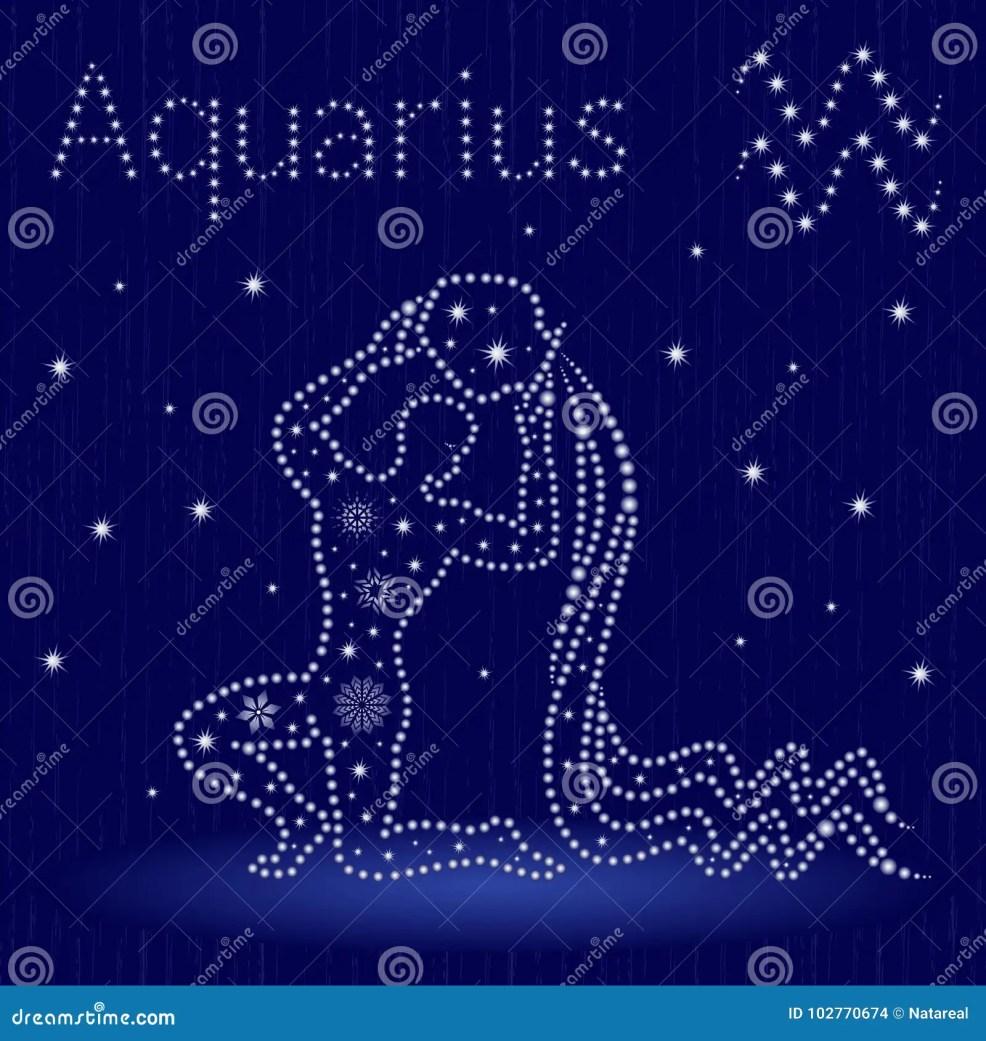 водолей знака зодиака с снежинками иллюстрация вектора иллюстрации