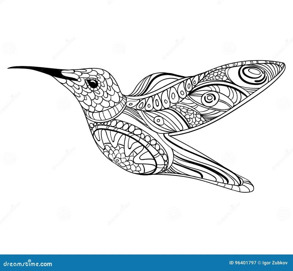иллюстрация вектора колибри стилизованная летящая птица рисовать с