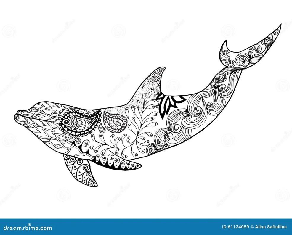 милый дельфин взрослая Antistress страница расцветки иллюстрация