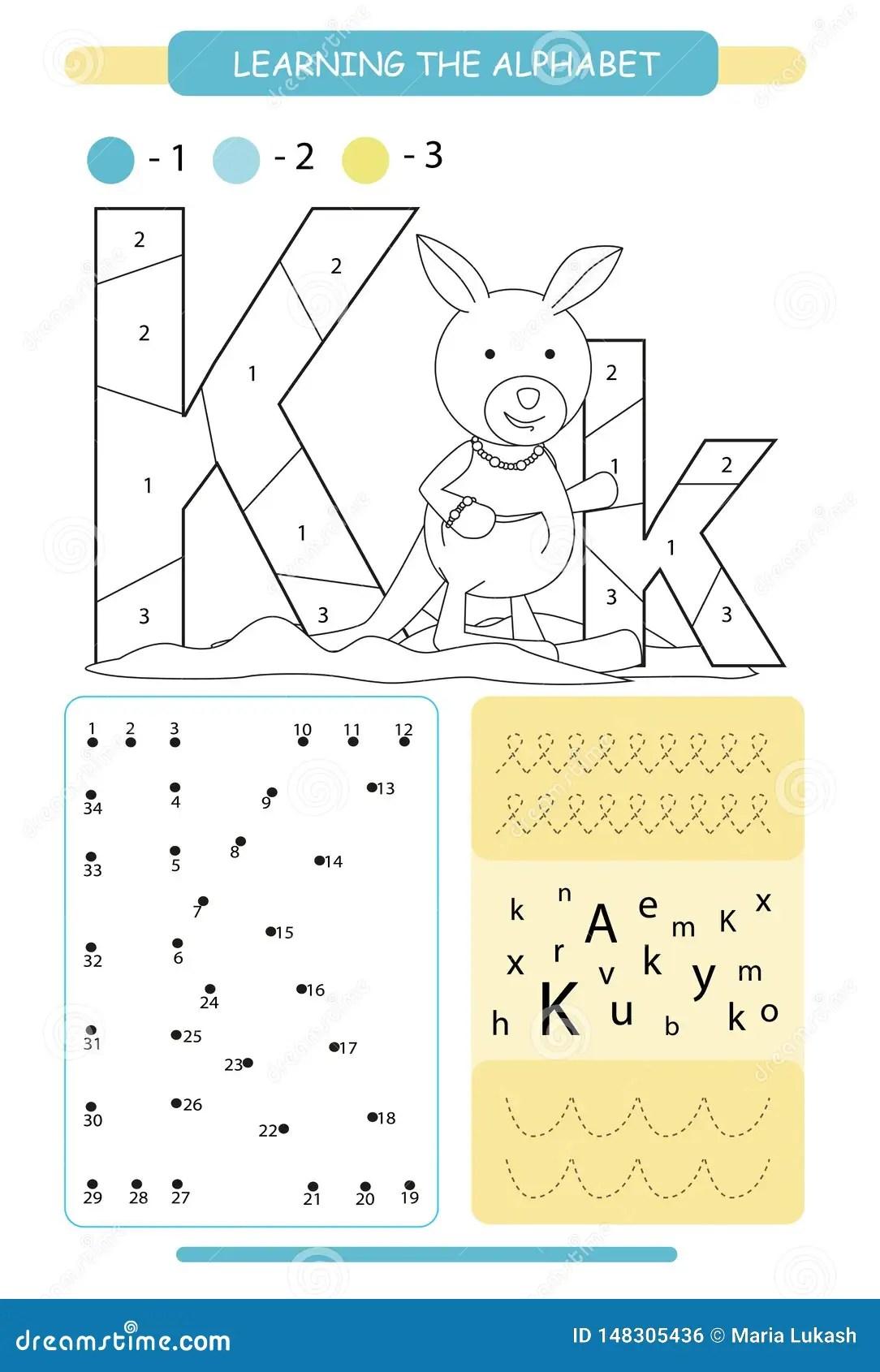 Letter K And Funny Cartoon Kangaroo Animals Alphabet A Z