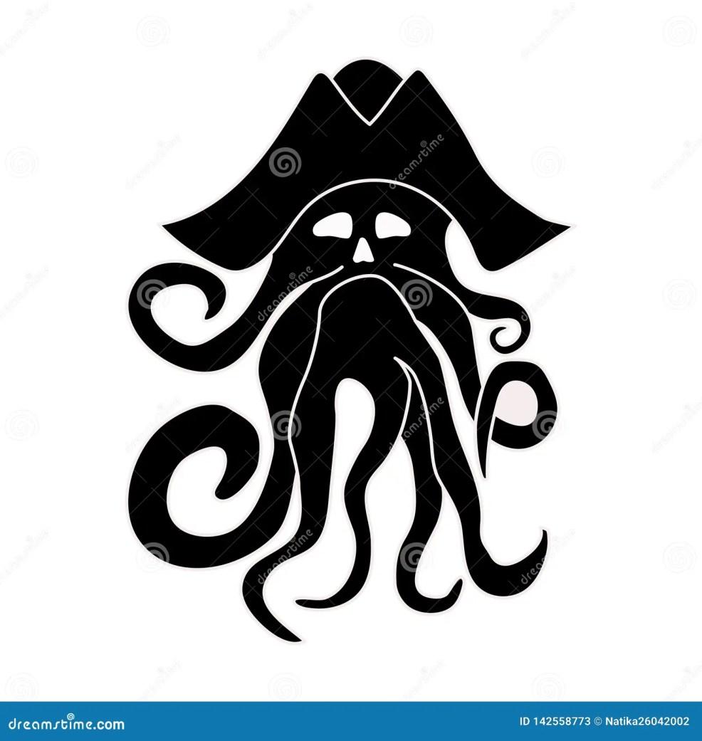 силуэт гигантского осьминога на белой предпосылке морское чудовище
