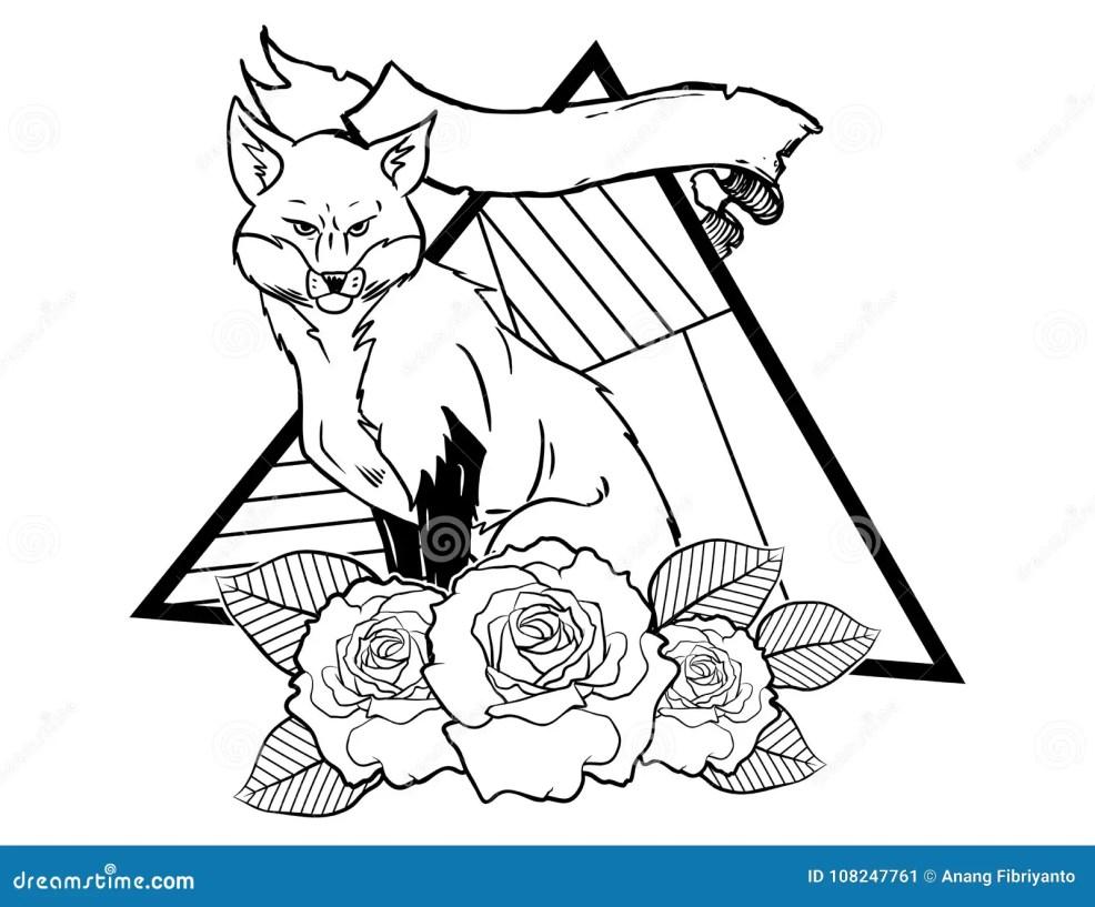 эскиз винтажной нео традиционной татуировки лисы черно белый дизайны