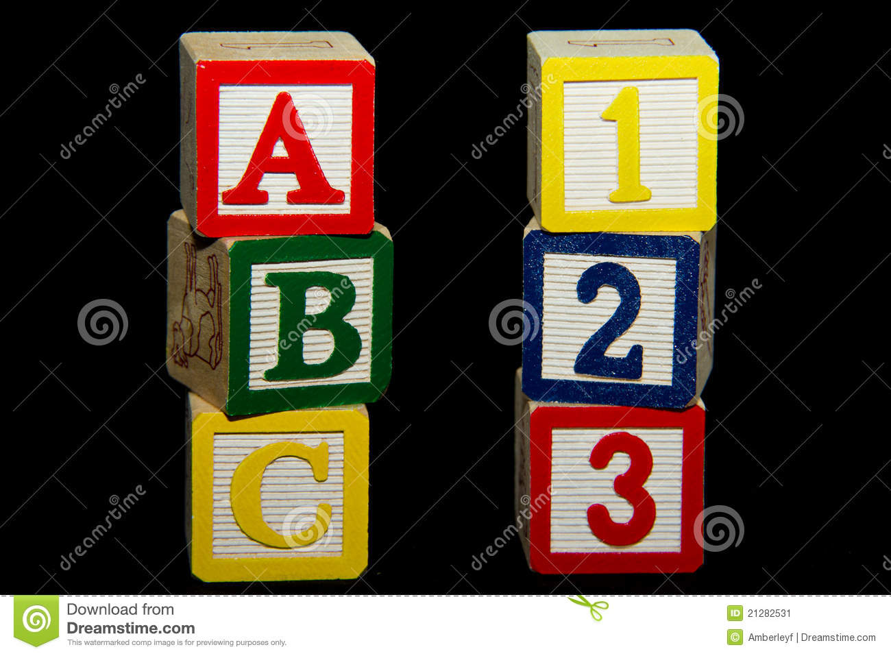 1 2 3 And A B C Stack Of Alphabet Blocks Stock Image