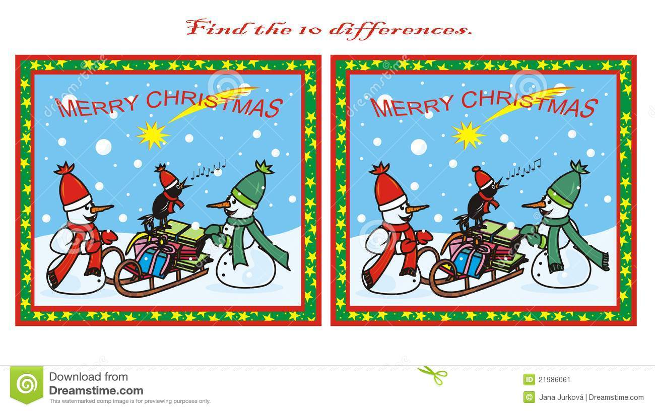 10 Differences Christmas Stock Vector Illustration Of