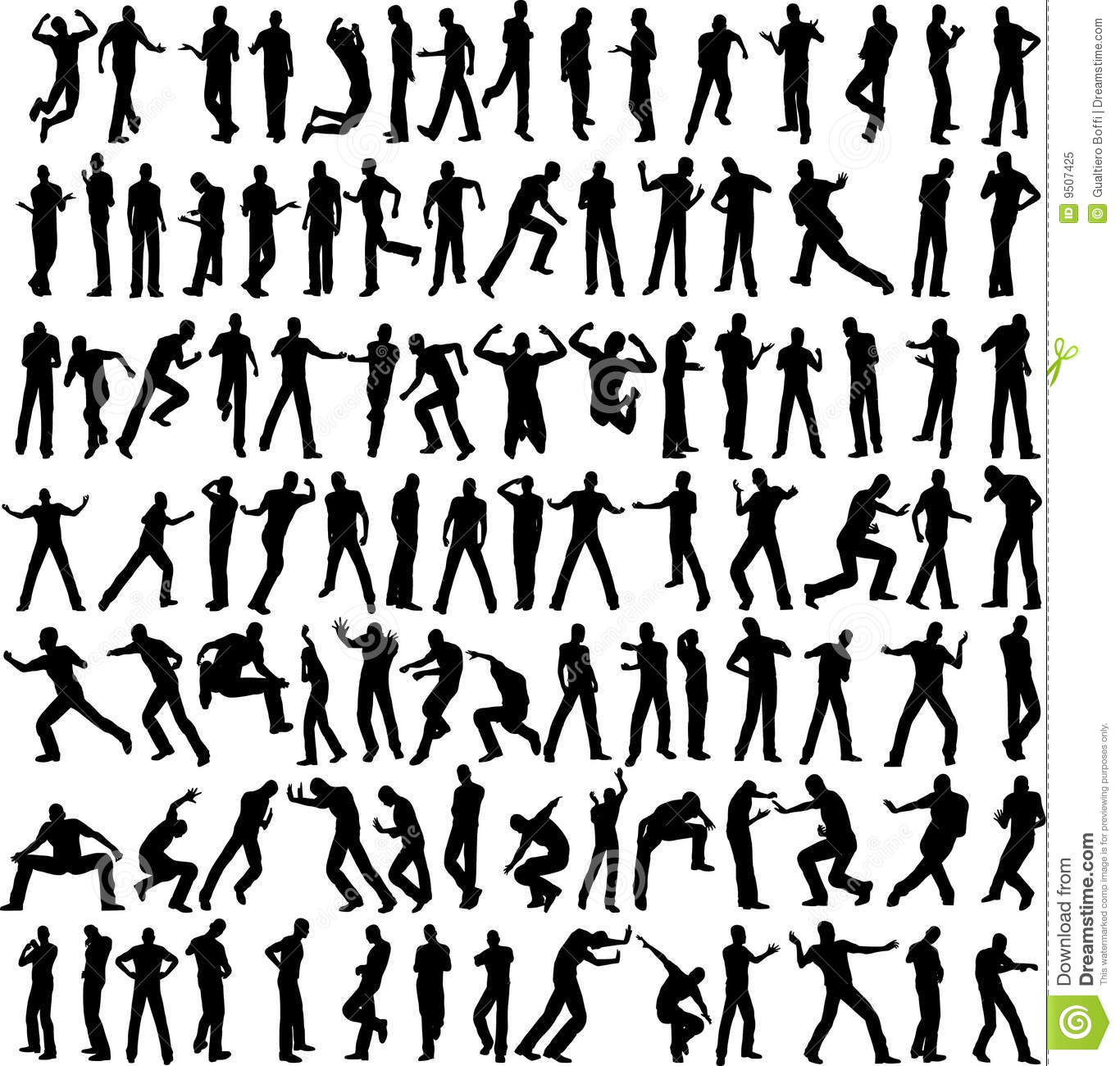 100 Man Vector Different Pose Stock Vector