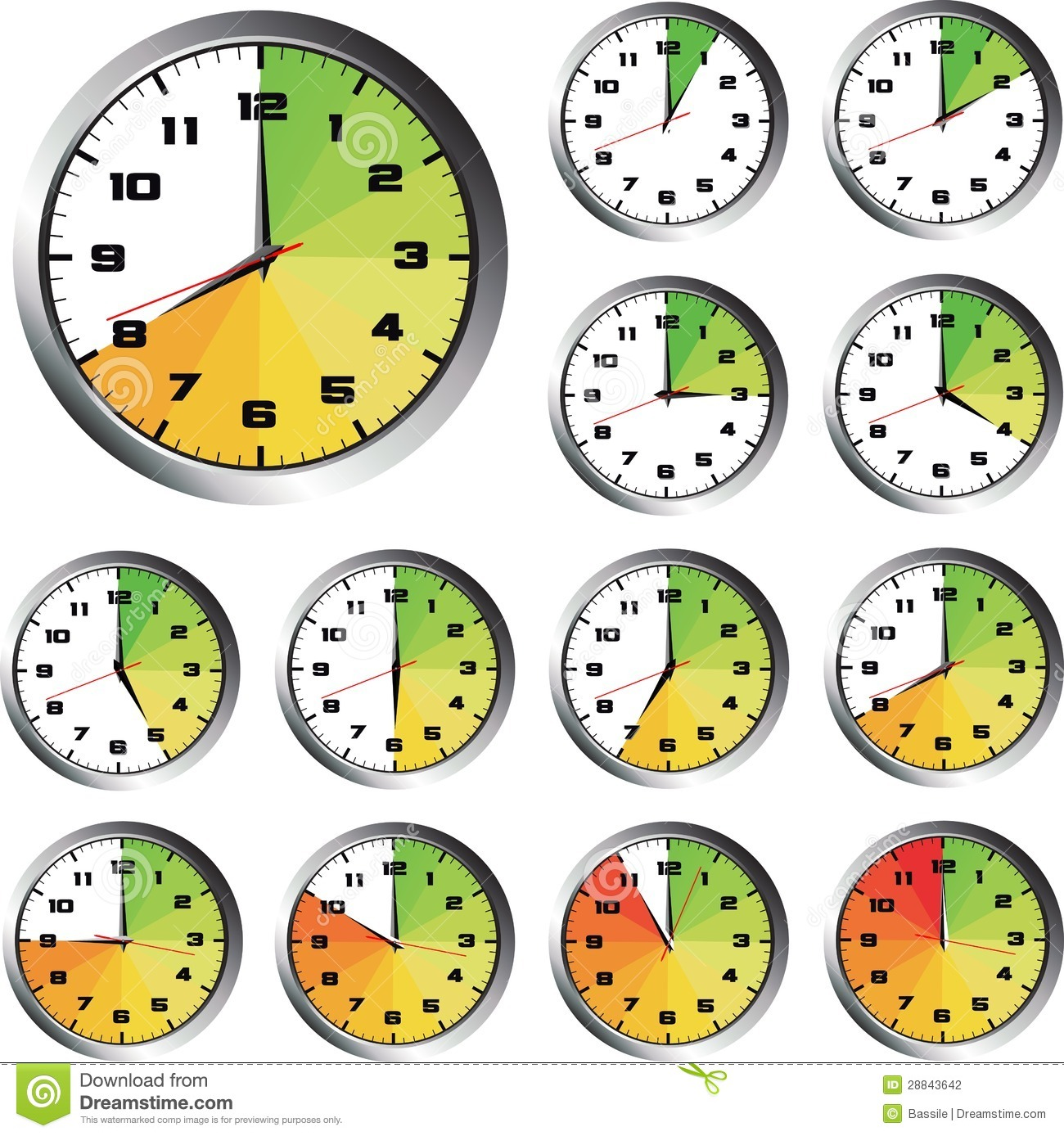 12 Hours Clock Set Stock Photography